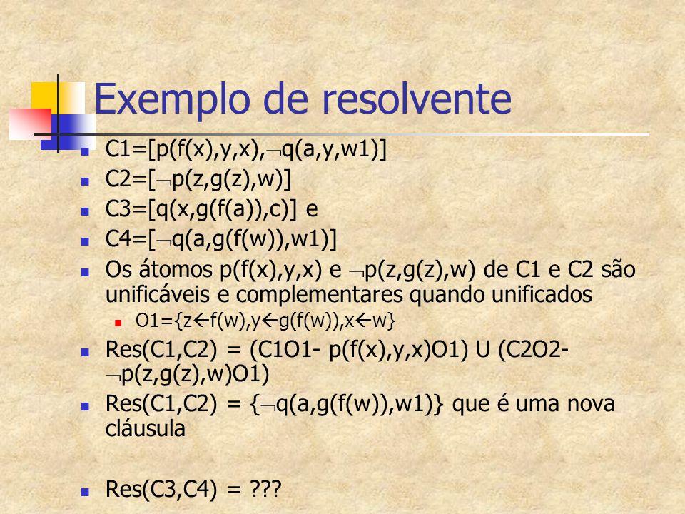 Exemplo de resolvente C1=[p(f(x),y,x),q(a,y,w1)] C2=[p(z,g(z),w)]